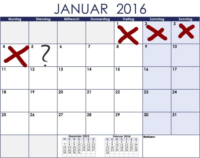 Beispiel Kalenderblatt Januar 2016