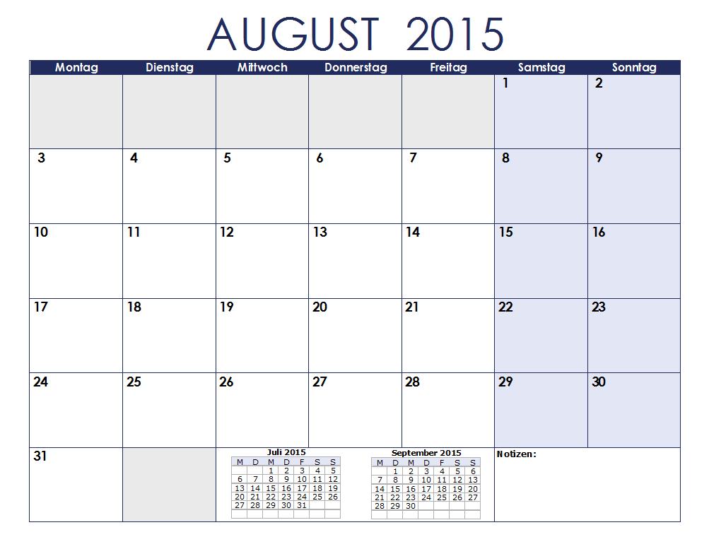 Ein Kalenderblatt, welches sich hervorragend für die Erstellung eine Monatsplans eignet